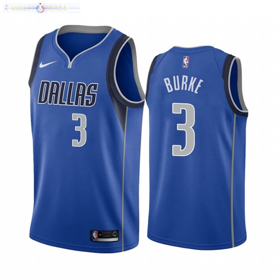 Maillot Dallas Mavericks Nike NO.3 Trey Burke Bleu Icon 2020-21