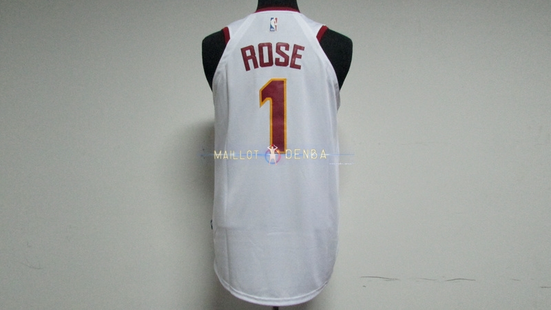 90d9ad13ec0b1 Maillot Cleveland Cavaliers Nike NO.1 Derrick Rose Blanc Maillot pas ...