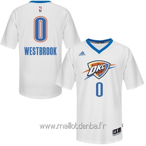 df6555eeb66bc ... Maillot Oklahoma City Thunder Manche Courte No.30 Russell Westbrook  Blanc